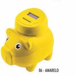 Cofre Amarelo Pig Bank Porquinho Digital Conta Moedas