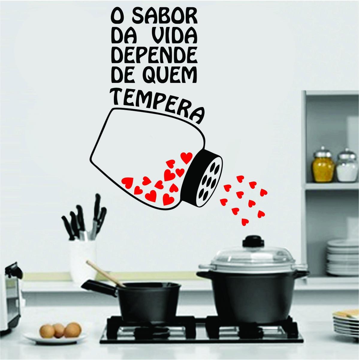 Artesanato Com Tecido E Cola ~ Adesivo De Parede Cozinha Geladeira Frase Coraç u00e3o Tempero R$ 29,99 em Mercado Livre