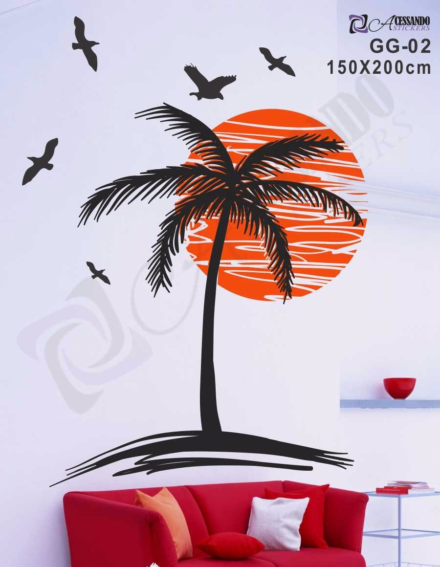 Adesivo decorativo papel de parede coqueiro no por do sol r 99 90 em mercado livre - Papel para paredes decorativo ...