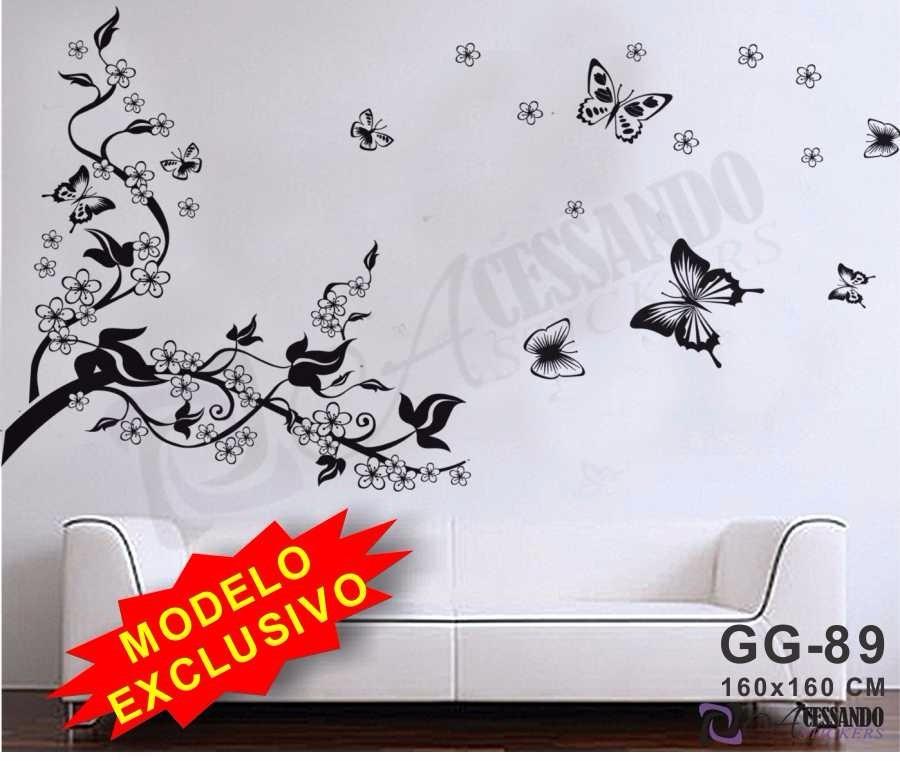 Adesivo decorativo papel de parede flores e borboletas novo r 119 90 em mercado livre - Papel para paredes decorativo ...