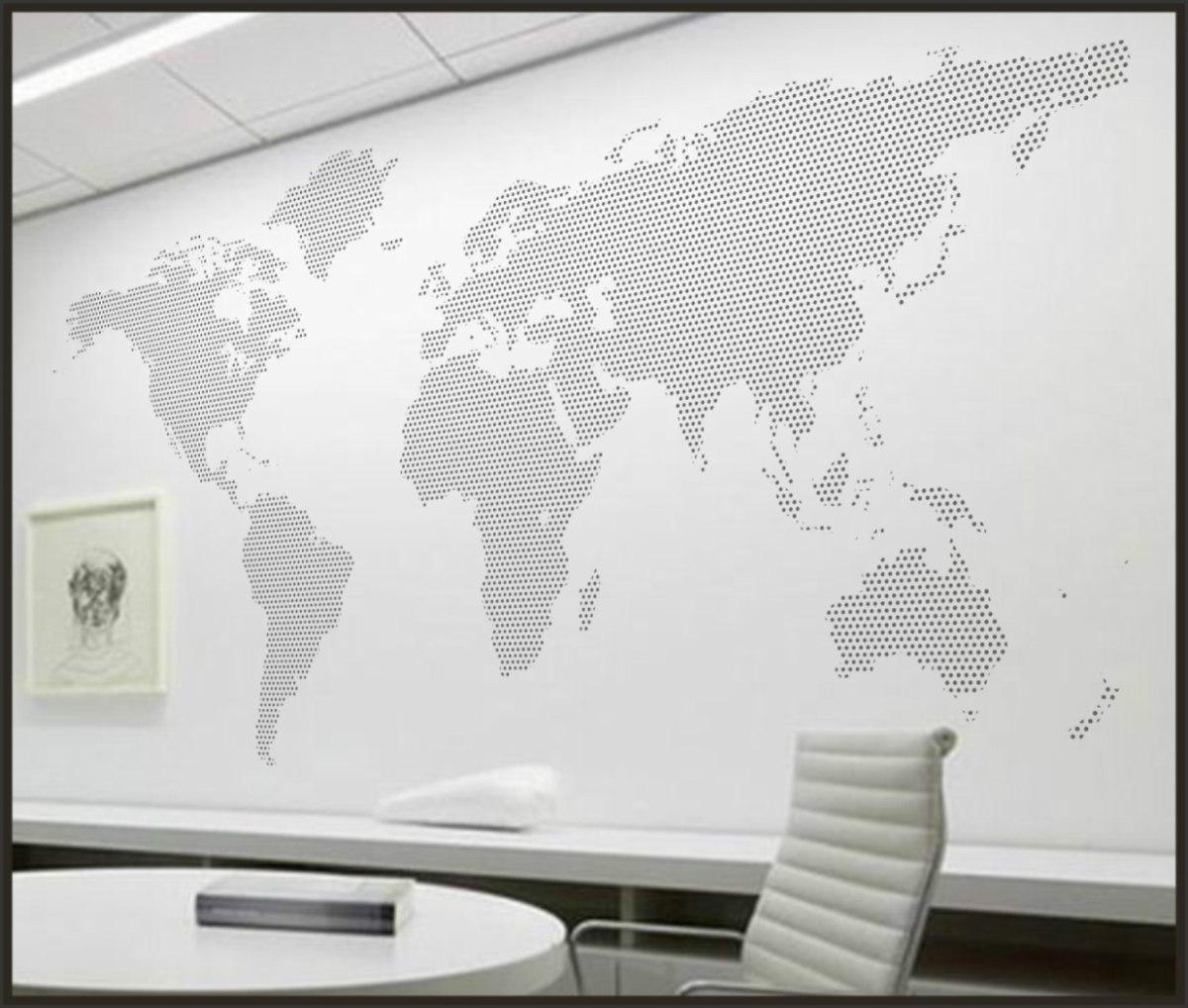 Adesivo De Parede Espelhado ~ Adesivo Decorativo Para Paredes, Mapa Mundi Poá Tam M R