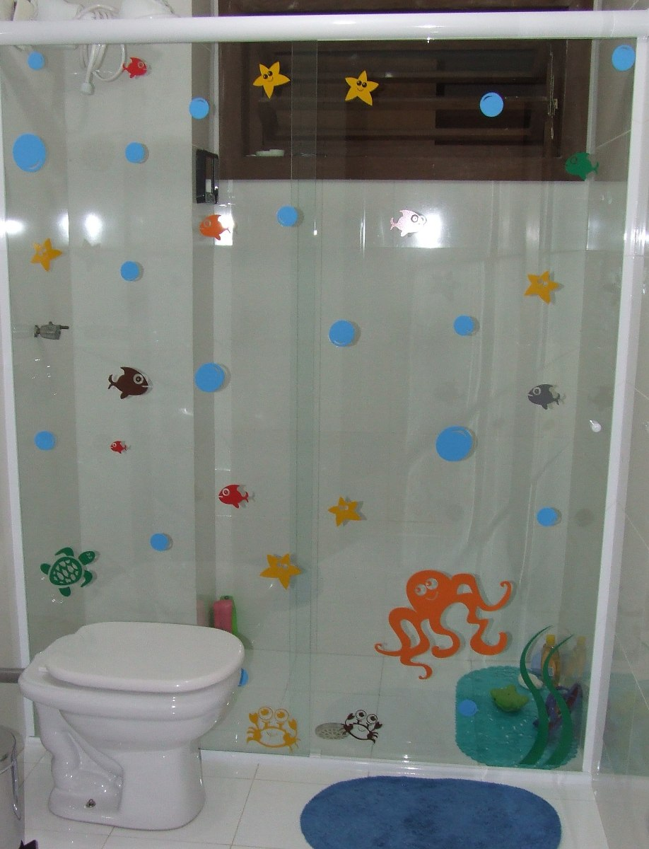 Adesivo Infantil Box Banheiro Fundo Mar Polvo Estrela