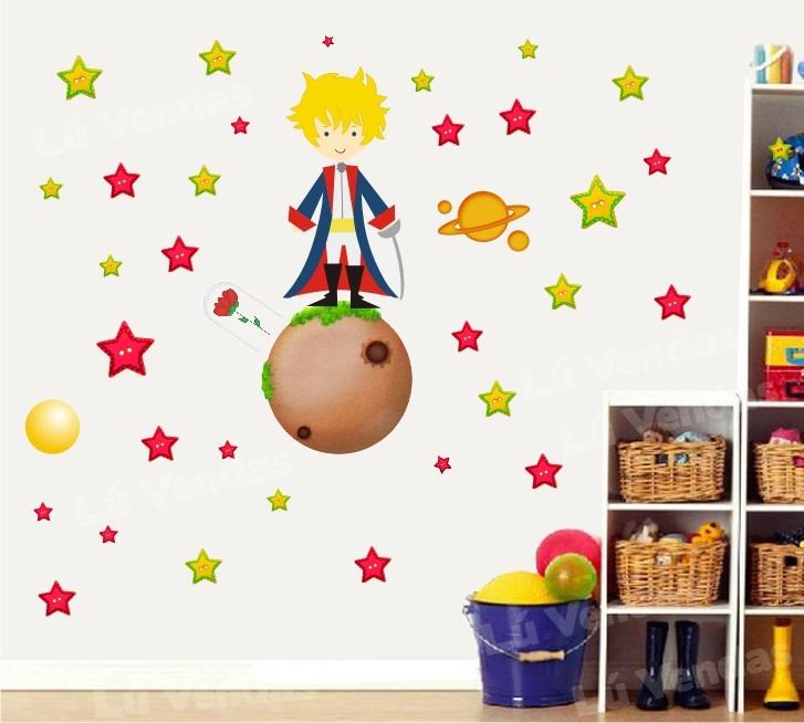 Aparador Pequeno Preto ~ Adesivo Infantil Pequeno Príncipe Papel Parede Quarto Menino R$ 59,00 em Mercado Livre