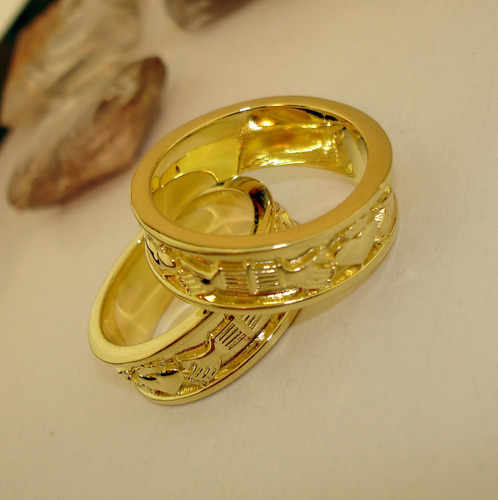aliança anel claddagh ouro banho 18k apaixone-se ojoalheiro