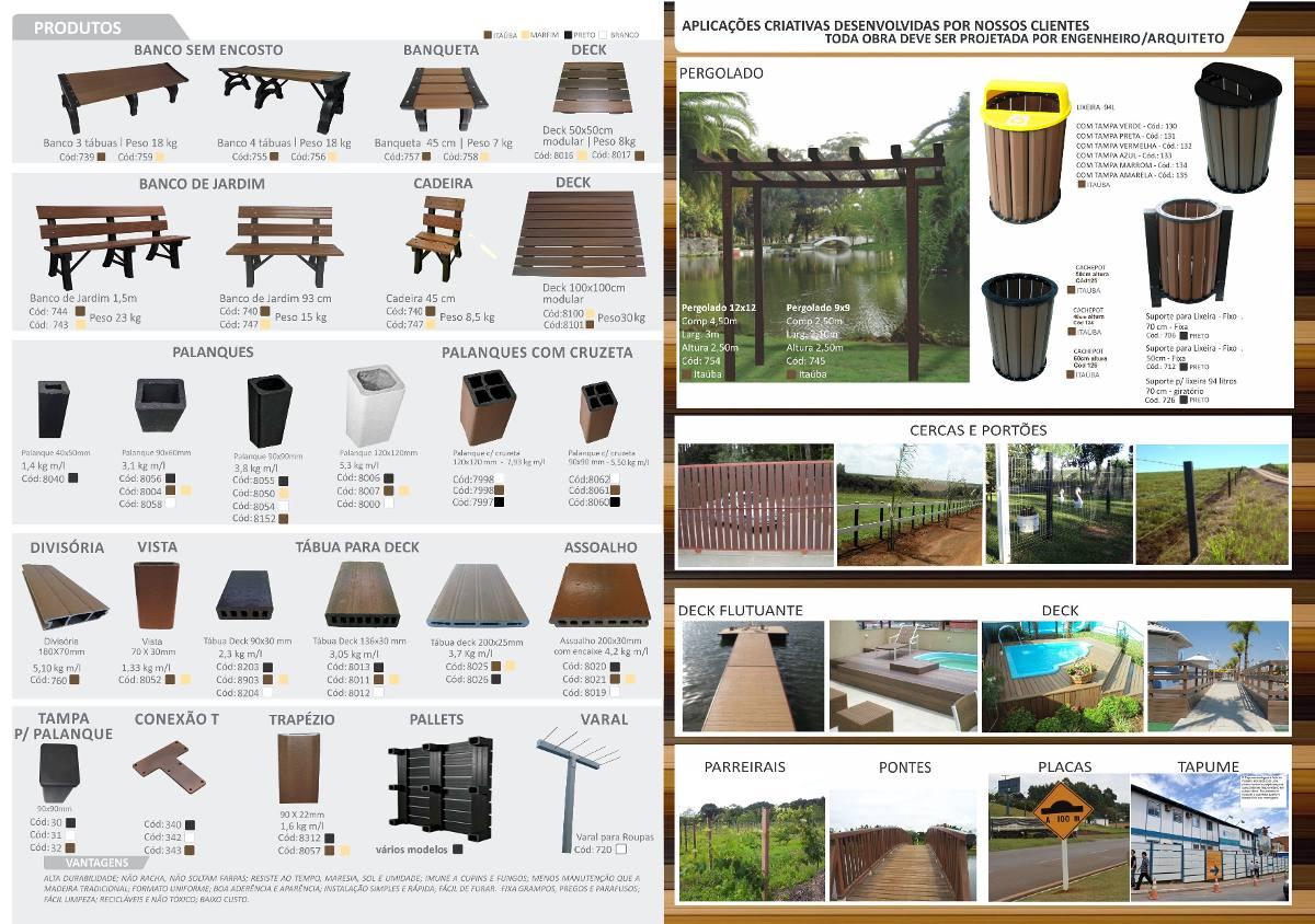 banco de jardim em madeira plástica:Banco Jardim 1,50m Madeira Plástica. – R$ 355,00 em Mercado Livre