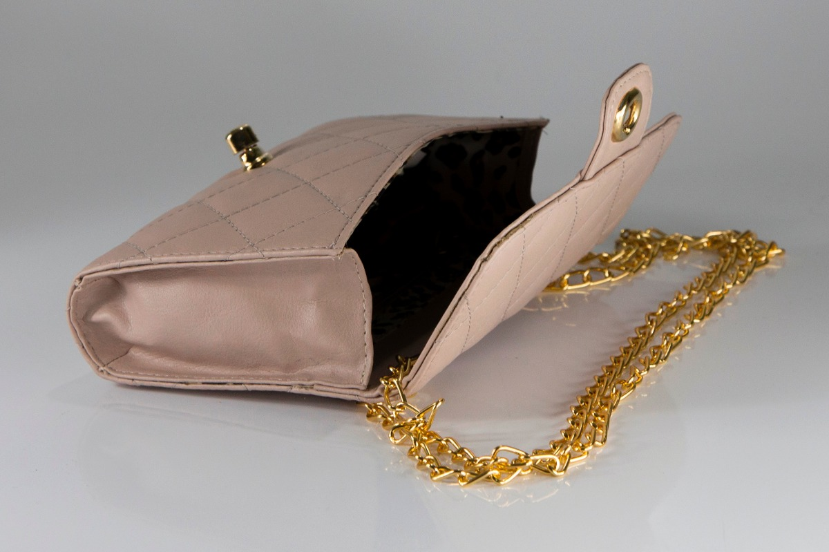 Bolsa Dourada Com Corrente : Bolsa em couro sint?tico matelass? al?a corrente