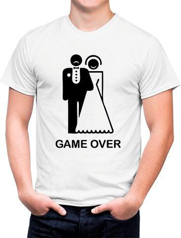 Camiseta Branca Casamento Engraçada Game Over
