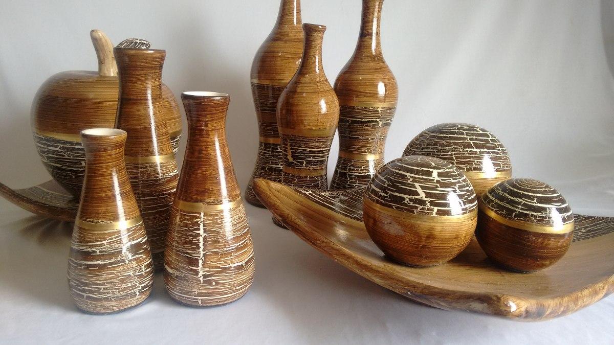 Conjunto ceramica 4 pe as decorativa e vasos decora o r for Ceramica decorativa pared