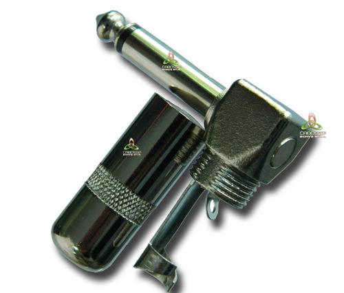 conector plug p10 profissional mono niquelado 90 graus 5pçs
