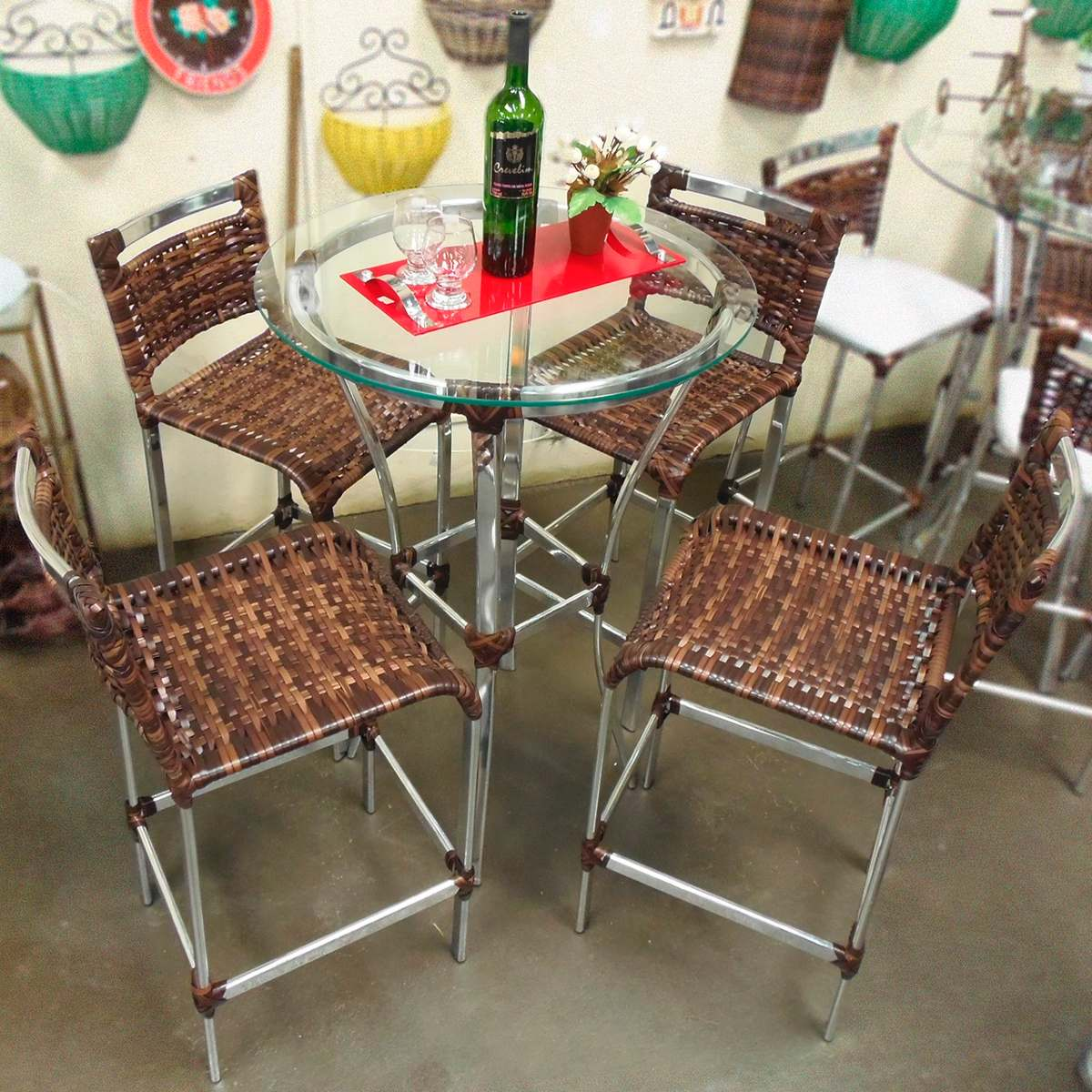 Conjunto de mesa bistr e 4 cadeiras varanda junco rattan r em mercado livre - Mesas de rattan ...