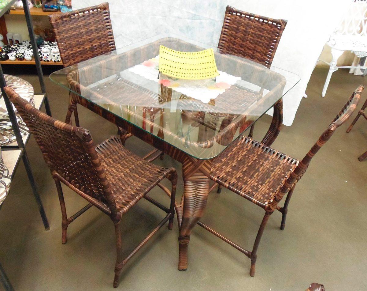 Conjunto de mesa quadrada e 4 cadeiras rattan ferro junco - Mesas de rattan ...