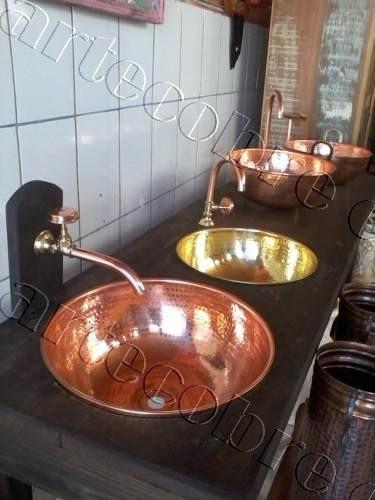 cubas de cobre e torneiras de cobre