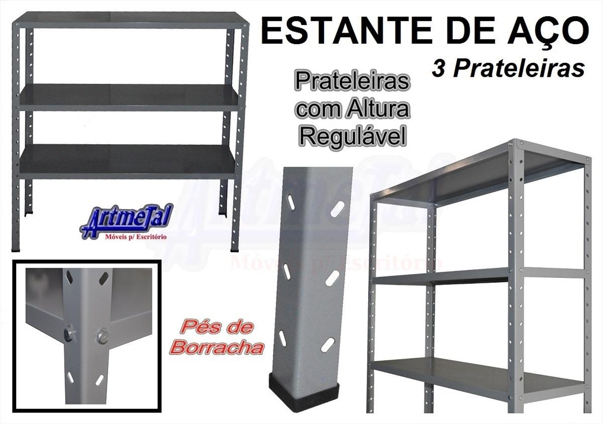 Estante Em Aço Três Prateleiras Reguláveis E Pés De Borracha R$  #A0312B 1200x844