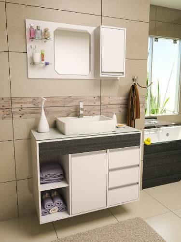 Gabinete  Armário Banheiro Fit Supreme 1 Metro Comprimento  R$ 849,90 em Me # Como Improvisar Um Armario De Banheiro