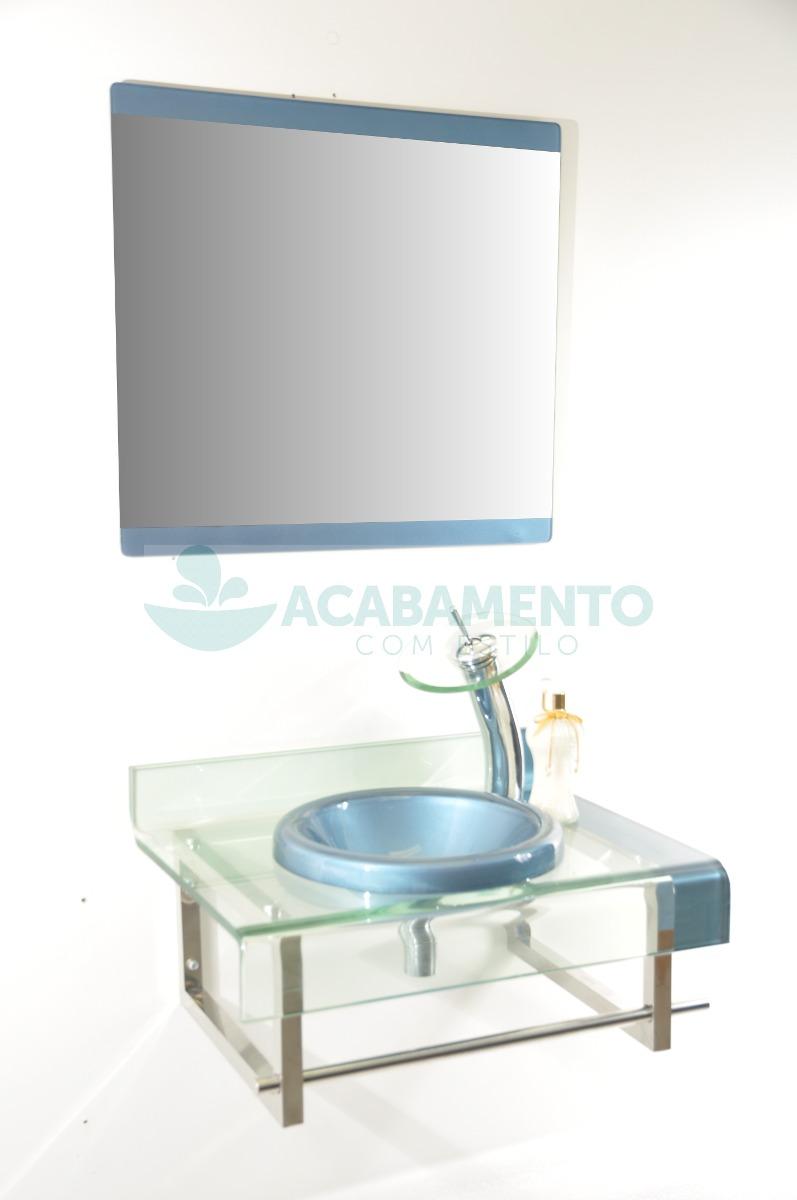 Gabinete De Vidro Banheiro Azul Celeste 60 Cm  R$ 749,00 em Mercado Livre -> Gabinete De Banheiro Azul