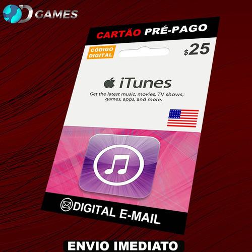 itunes gift card $25 - cartão itunes usa - preço imbativel!!