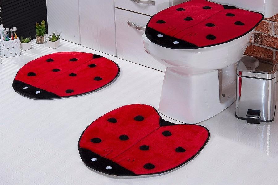 Jogo De Banheiro Amarelo Com Vermelho : Jogo de banheiro joaninha vermelho r em mercado livre
