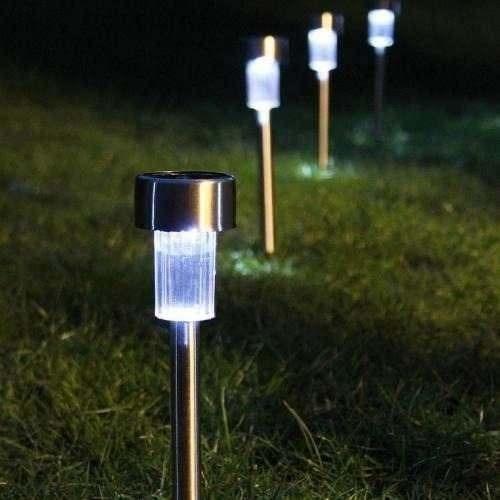 kit iluminacao jardim:Kit 4 Luminárias Solares Inox. Energia Ecológica. P/ Jardim – R$ 80