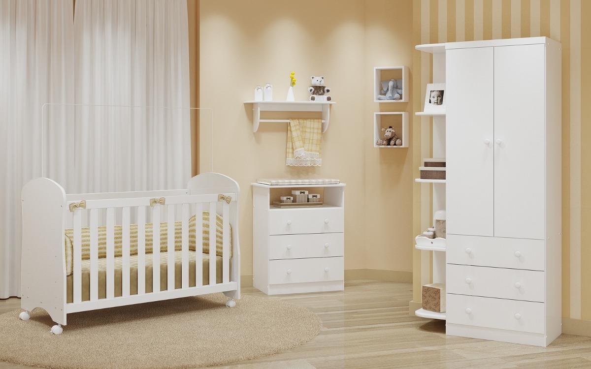 Kit bebe quarto c ber o c moda e guarda roupa sm branco - Armarios de bebes ...