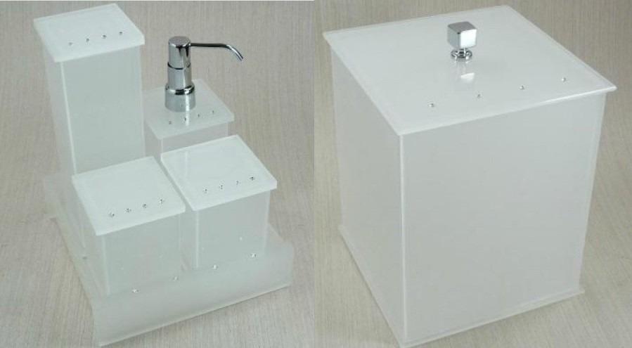 Kit Para Banheiro Em Acrílico : Kit potes p banheiro em acr?lico jateado c strass
