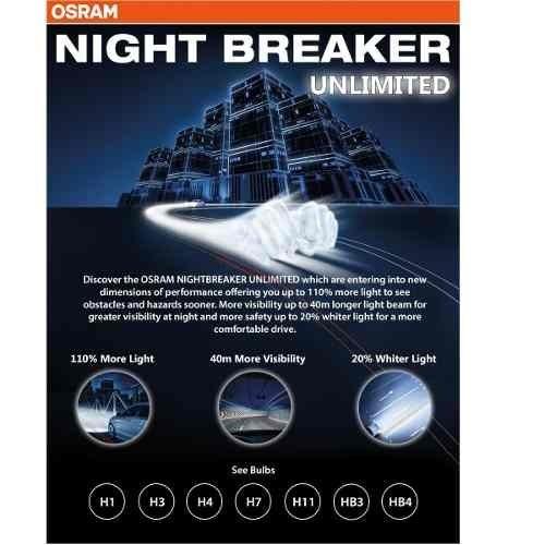 lampada osram night breaker unlimited h4 par farol 110. Black Bedroom Furniture Sets. Home Design Ideas