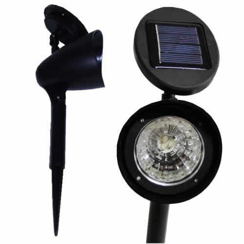 iluminacao jardim solar:Luminária Solar Jardim Pvc Rígido Spot 1383 3 Leds – R$ 39,99 em