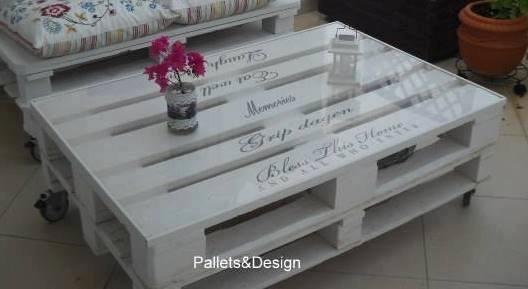 Mesa de centro de pallets pintada de branco r 179 00 em - Mesa centro palet ...