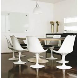 mesa saarinen tampo em laca de 90cm e 4 cadeiras sem braço