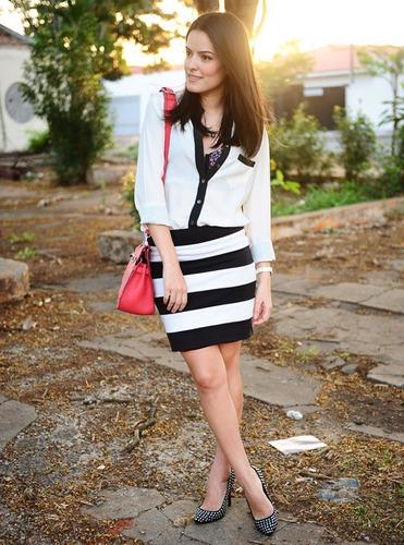 Bolsa Listrada Preta E Branca : Mini saia listrada preta e branca frisada estilo panict