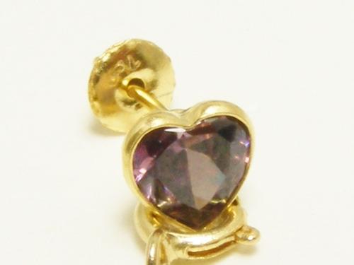 monreale lindo brinco de ouro 18k coração de ametista