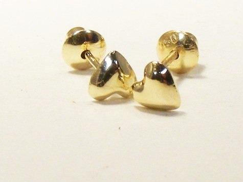 monreale lindo brinco em ouro 18k coração para segundo furo