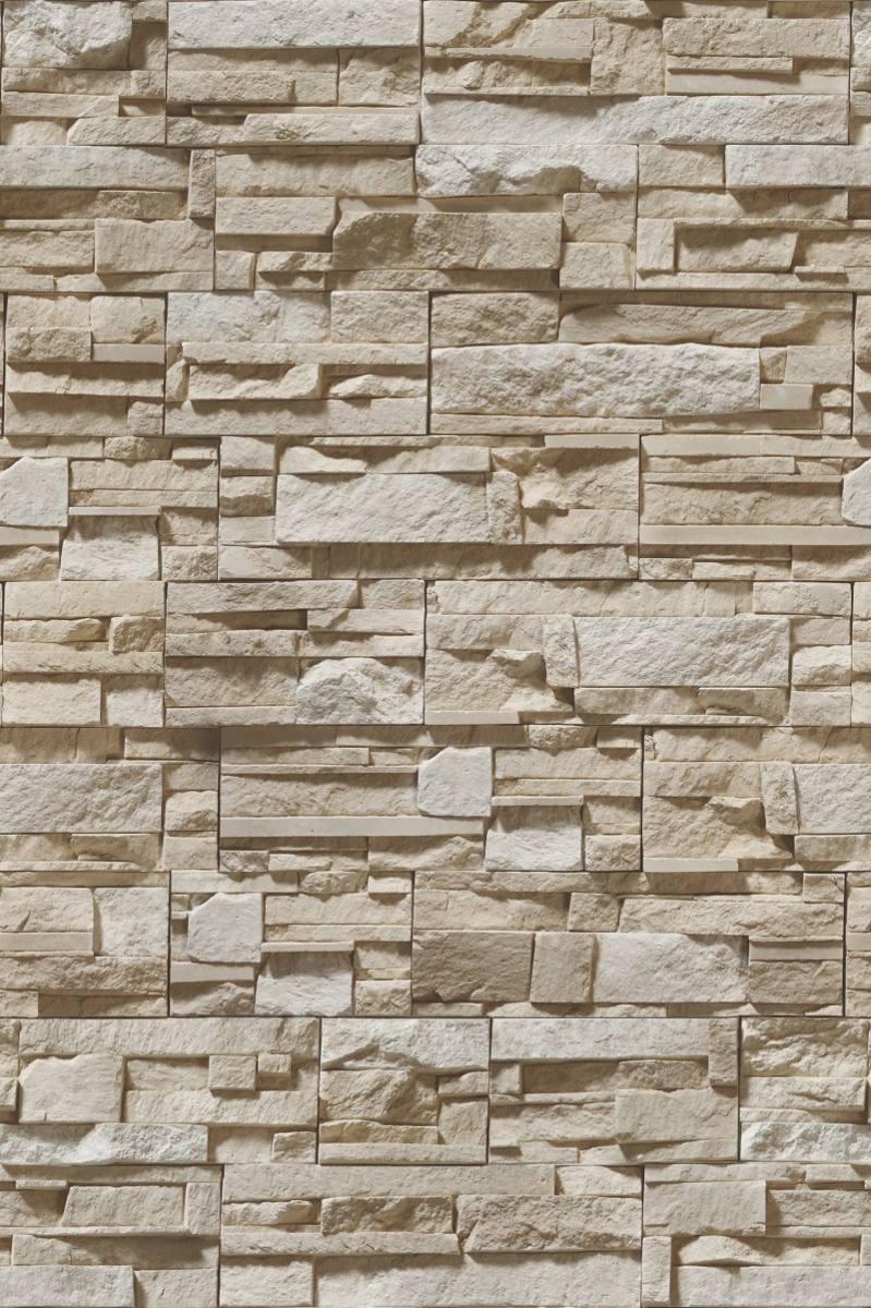 Papel De Parede Pedras 3d R Stica Em Filetes Bege R 64
