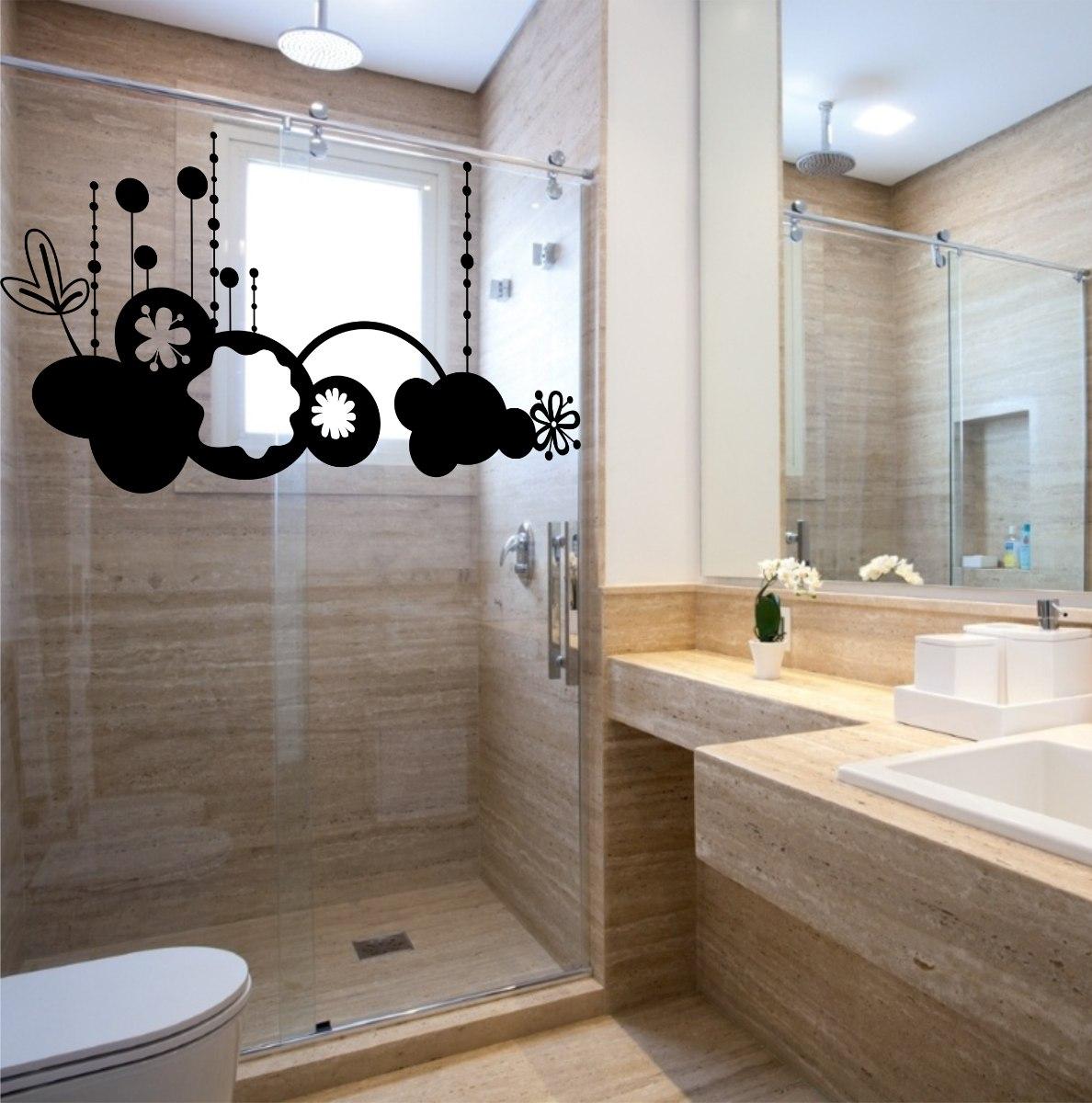 Adesivo Decorativo Parede Box Banheiro Floral Nuvem Mar R$ 19 99 em  #836848 1188x1200 Banheiro Container Brasilia