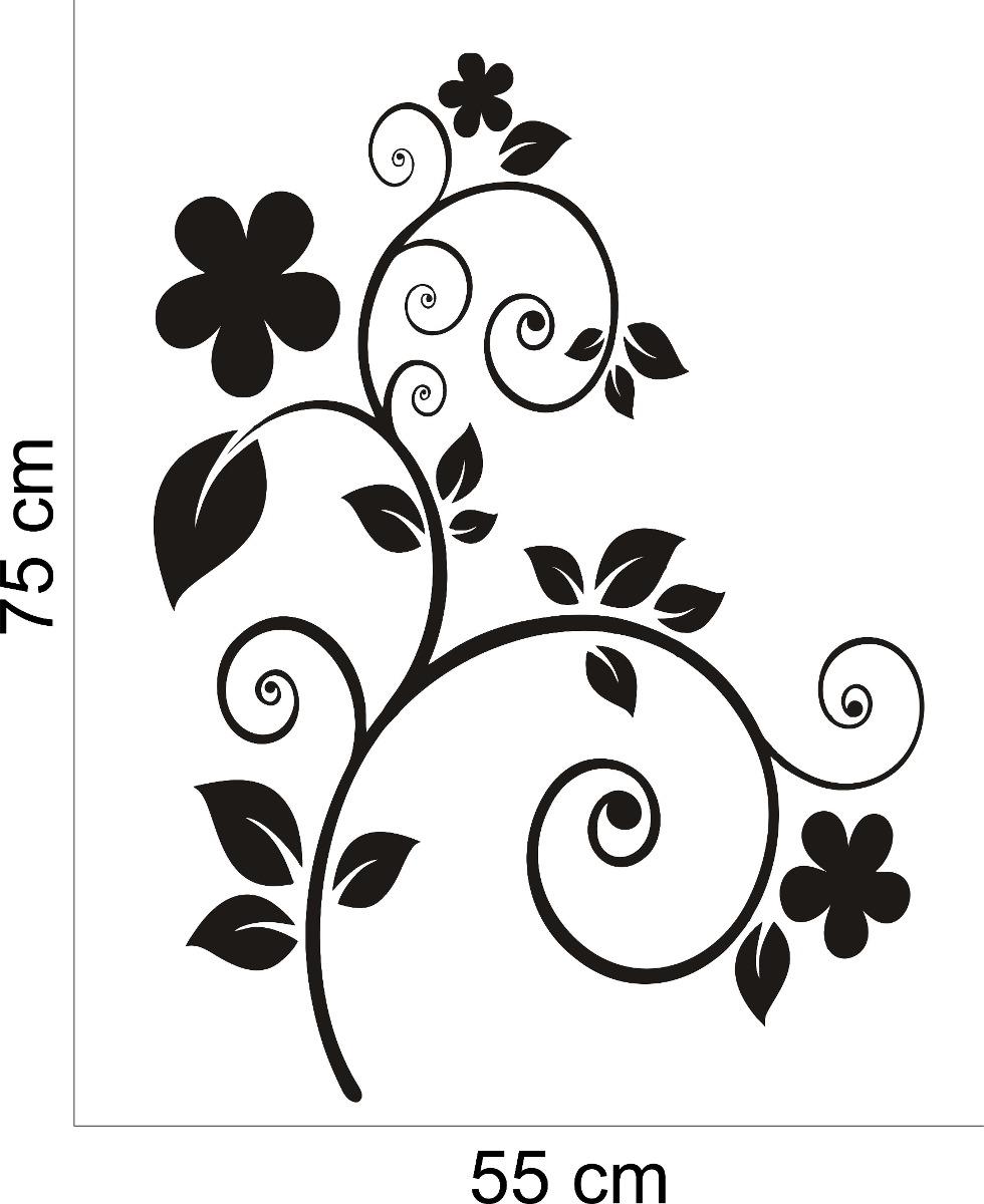 Adesivo De Flores Parede ~ Adesivo Decorativo Parede Sala Quarto Flor Floral Folhagem R$ 29,99 em Mercado Livre