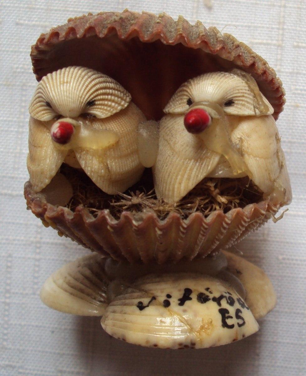 Aparador Adega ~ Pássaros No Ninho Artesanato Em Conchas A50 R$ 7,00 em Mercado Livre