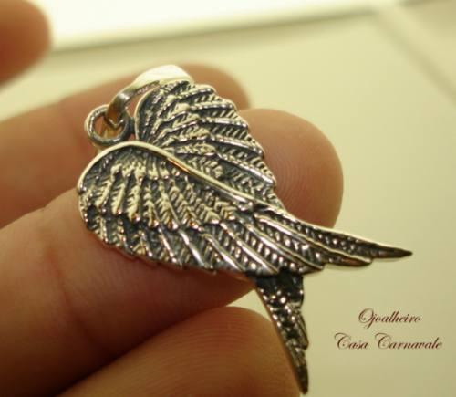 pingente asas de anjo lindíssimo trabalho prata legítima