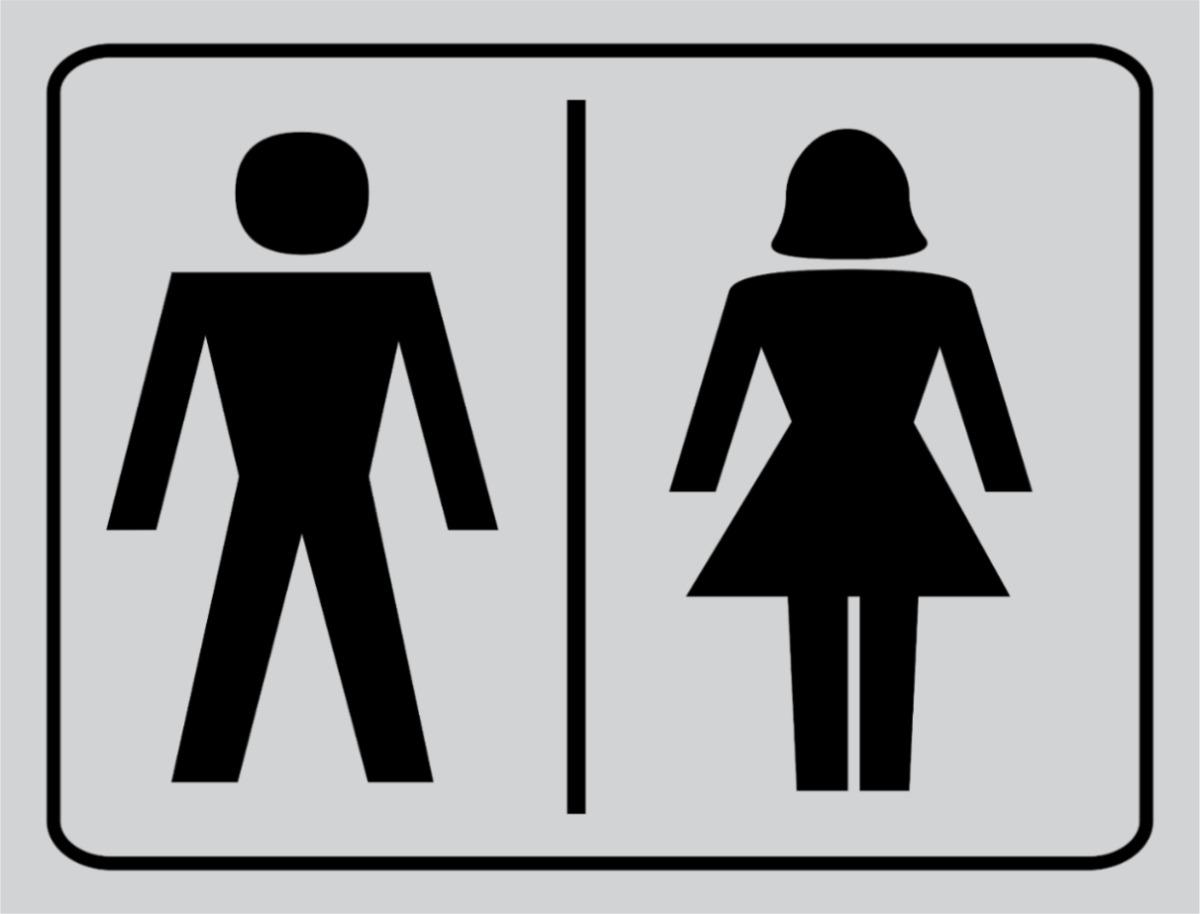 Placa Banheiro Masculino E Feminino  R$ 8,00 em Mercado Livre -> Boneco Banheiro Feminino
