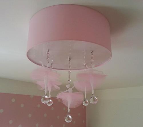 Plafon Bailarinas Quarto Bebê Menina Luminária