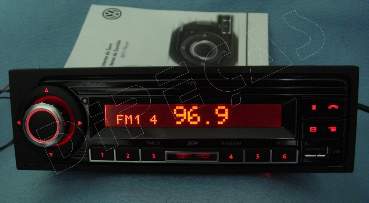 radio mp3 sd usb bluetooth display vermelho original vw. Black Bedroom Furniture Sets. Home Design Ideas