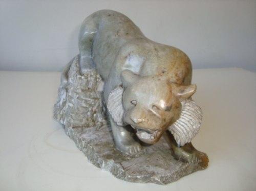 Feira Artesanato Goiania ~ Tigre Pantera Felino Em Pedra Sab u00e3o Artesanal Ouro Preto R$ 300,00 em Mercado Livre