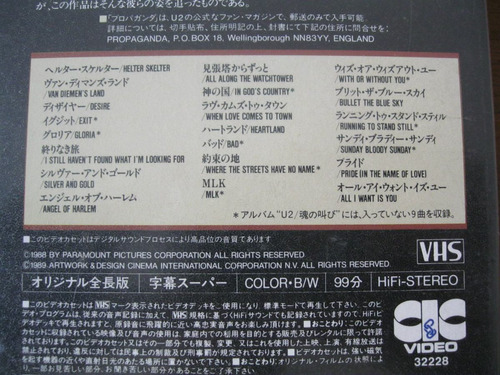 u2 : exclusivo vhs japonês ~ rattle and hum - bono raro